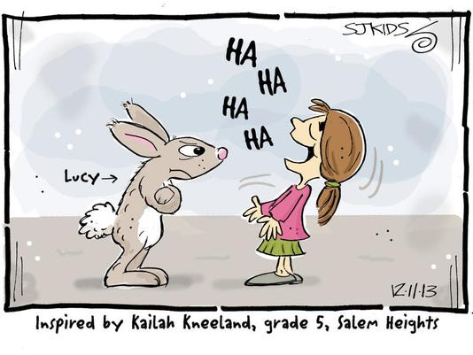 My bunny, Lucy, giving me the detective stare! Kailah Kneeland, Grade 5, Salem Heights