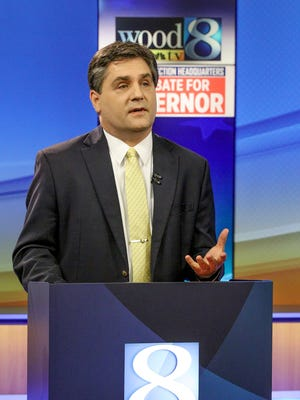 Sen. Patrick Colbeck during the one-hour Republican debate at WOOD-TV in Grand Rapids on May 9, 2018.