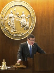 North Carolina Speaker of the House Tim Moore speaks during a special session of the North Carolina General Assembly in Raleigh, N.C., Wednesday, Dec. 21, 2016. North Carolina's legislature is reconvening to see if enough lawmakers are willing to repeal a 9-month-old law that limited LGBT rights, including which bathrooms transgender people can use in public schools and government buildings. (AP Photo/Ben McKeown)