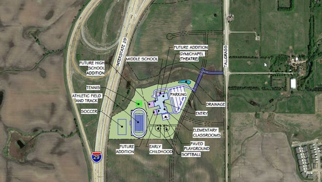 The site of the new Sioux Falls Lutheran School preschool, located at 69th and Tallgrass, south of the junction of interstates 29 and 229, on a site donated by Sanford Health.