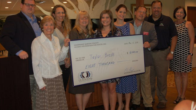 Taylor Bresk, a graduate of Martin County High School, received the 2018 Nancy Sailer Youth LEADERship Scholarship from the LEADERship Alumni board at the Youth LEADERship graduation luncheon. Pictured are, from left, George Stokus, Nancy Sailer, Gina Kenyon, Angie Metcalf, Taylor Bresk, Jennifer Ferrari, Peter Kemp, Brett Zurich and Cindy LaConte.