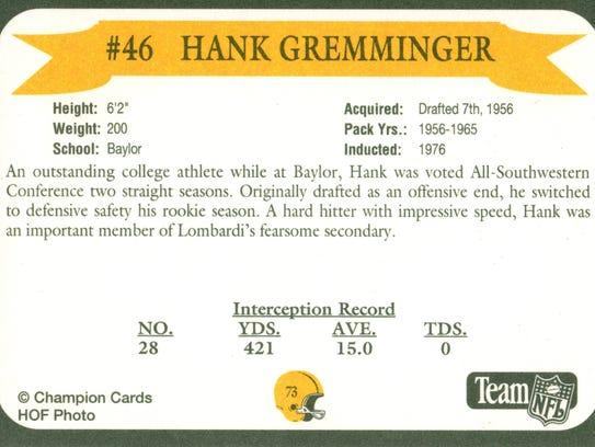 Packers Hall of Fame player Hank Gremminger