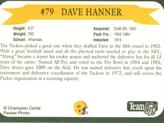 Packers Hall of Fame player Dave Hanner