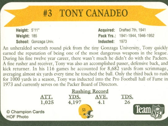 Packers Hall of Fame player Tony Canadeo