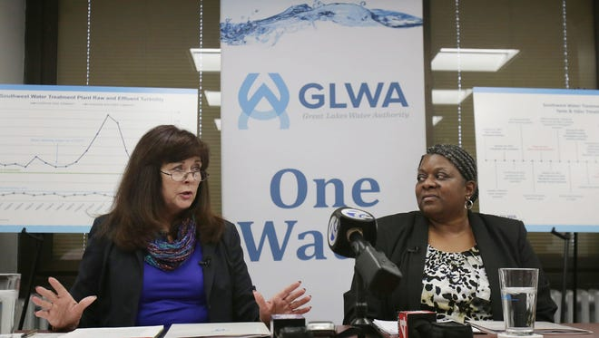 Sue McCormick the Chief Executive Officer for Great Lakes Water Authority, left, and Cheryl Porter the Chief Operating Officer for Great Lakes Water Authority answer questions during a roundtable discussion on Friday, Jan. 20, 2017 at the Water Board Building in downtown Detroit.