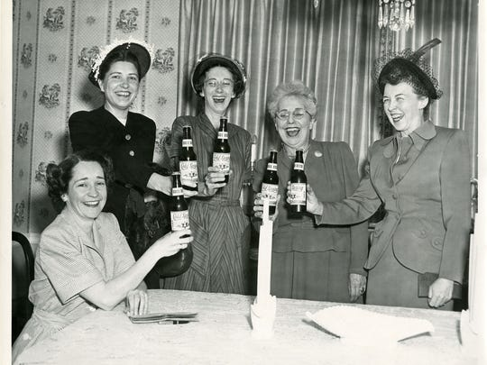 A St. Stephen mission group drinking Cold Spring Brewing Co. beer at the home of brewery owner Myron Johnson in 1949. The women, from left to right, are Miriam Bohmer, Dorothy Rosenberger, Marva Moos, Pauline Penning and Clementine Ernst.