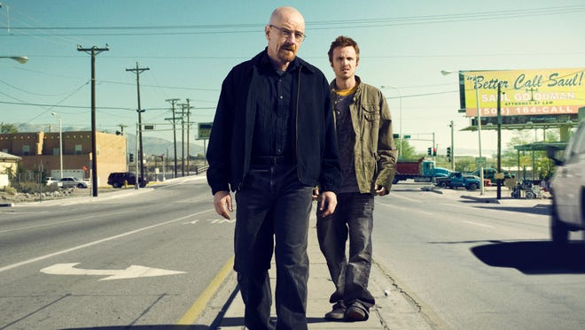 Bryan Cranston, front, as Walter White and Aaron Paul as Jesse Pinkman in a scene from 'Breaking Bad.'