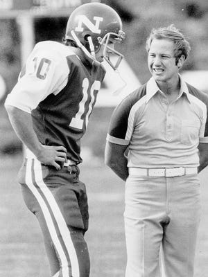 Chris Ault talks with Jeff Tisel, his quarterback during the 1976 season. They combined to beat Santa Clara is a hugely important game that season.