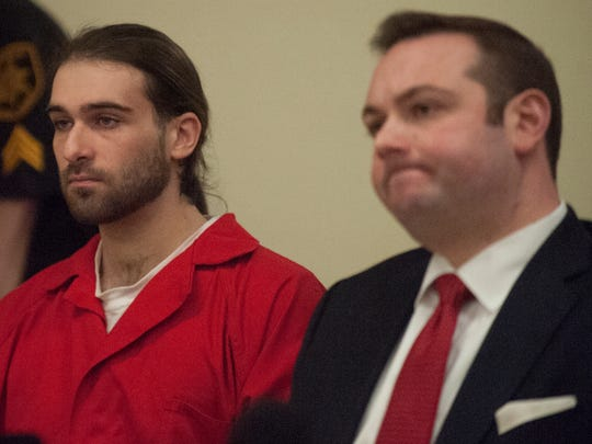 David Creato Jr. (left) looks on Monday with his defense attorney Richard  Fuschino Jr.  in Superior Court  in Camden. Creato is charged in the death of his 3-year-old son Brendan.