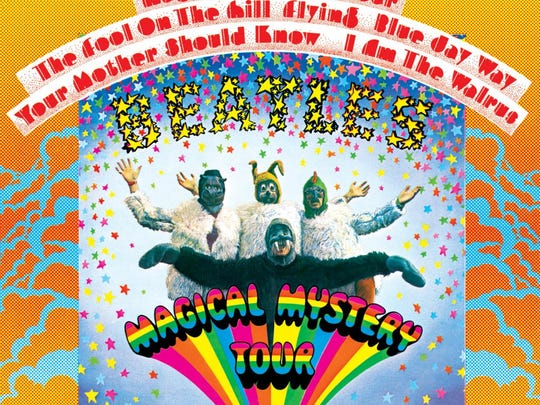 "The cover to the Beatles' 1967 album ""Magical Mystery Tour."""