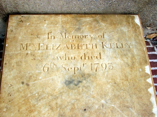 Workers at First Presbyterian Church of York discovered the tombstone of Elizabeth Smith Kelly, who died in 1793.