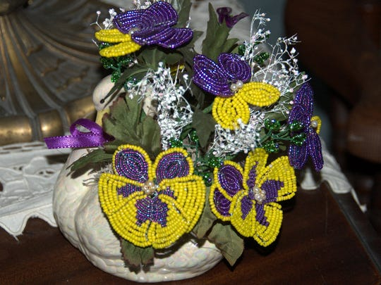 A completed French-bead flower bouquet by Velma Cox.