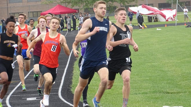 Granville's Jonny Lukins leads the pack during the 800 this past Saturday during the Division I District 1 meet at Hilliard Darby. Lukins won the event.