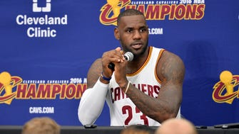 LeBron James talks to the media during media day at Cleveland Clinic Courts.