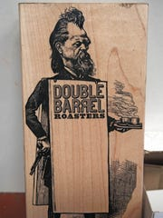 A stamp with the logo of Double Barrel Roasters in the shop in Yonkers.
