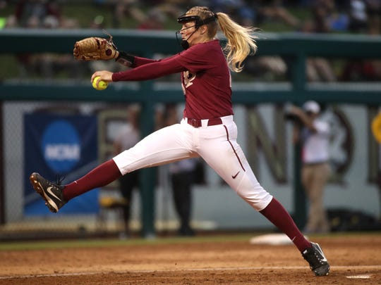FSU's Meghan King pitches against LSU during the second game of their NCAA Super Regional series at JoAnne Graf Field on Saturday, May 26, 2018.
