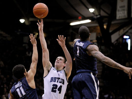 Butler's Kellen Dunham didn't get an open look all evening Tuesday. He finished 1-for-10 from the floor for two points, a season-low.