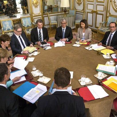 European leaders discuss Greece on July 6, 2015, in