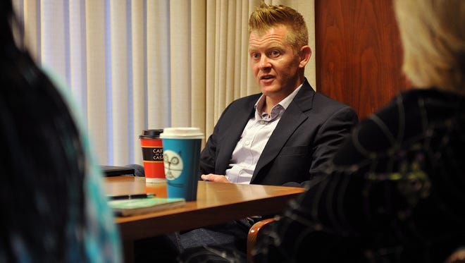 Brendan Bell speaks with the Times Record News Editorial Board Wednesday morning. Bell is running for Wichita Falls City Councilor At-Large.