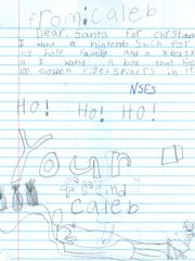 A letter to Santa Claus from Caleb.