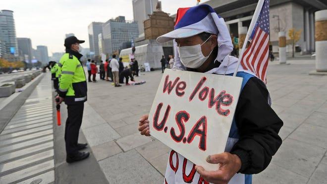 Near the U.S. Embassy in Seoul on Nov. 6, 2017.