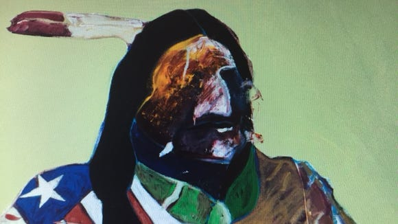 "Fritz Scholder's ""American Portrait with Flag"" (detail)."
