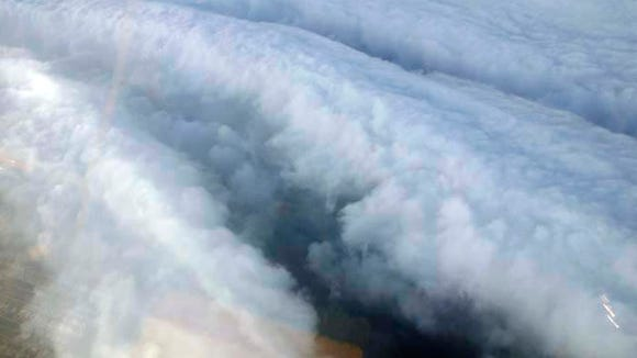 Hurricane Katrina eye wall from Hurricane Hunters aircraft.