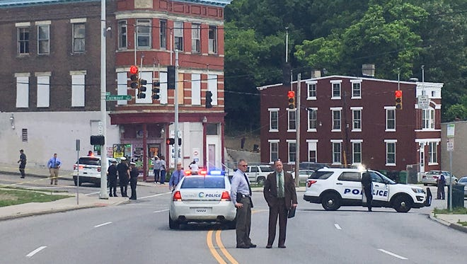 Harrison Avenue was blocked in both directions at Fairmount due to a fatal shooting Wednesday afternoon.