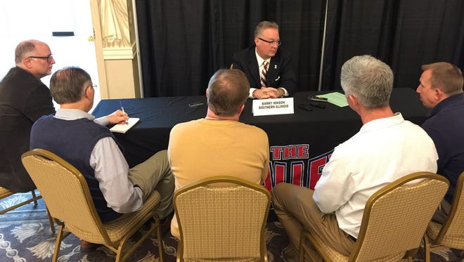 Southern Illinois University men's basketball head coach Barry Hinson is always a popular interview at the Missouri Valley Conference Basketball Tipoff media day.