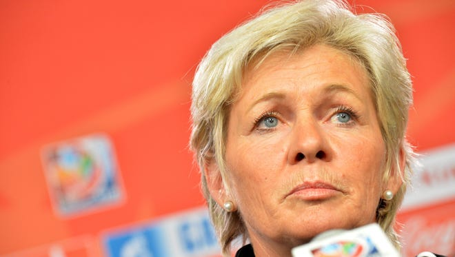 Germany's head coach Silvia Neid speaks during a press conference at the Lansdowne Stadium during the FIFA Women's World Cup in Ottawa, Canada, 06 June 2015.