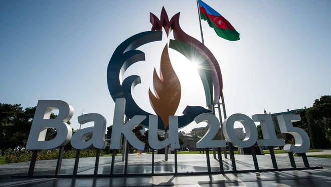 A logo of the 2015 European Games has been set up in Baku, Azerbaijan, on June 10, 2015. The Baku 2015 European Games will be held in Azerbaijan from June 12 to 28, 2015.