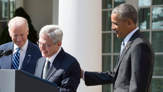 President Obama, Vice President Biden and Judge Merrick Garland.