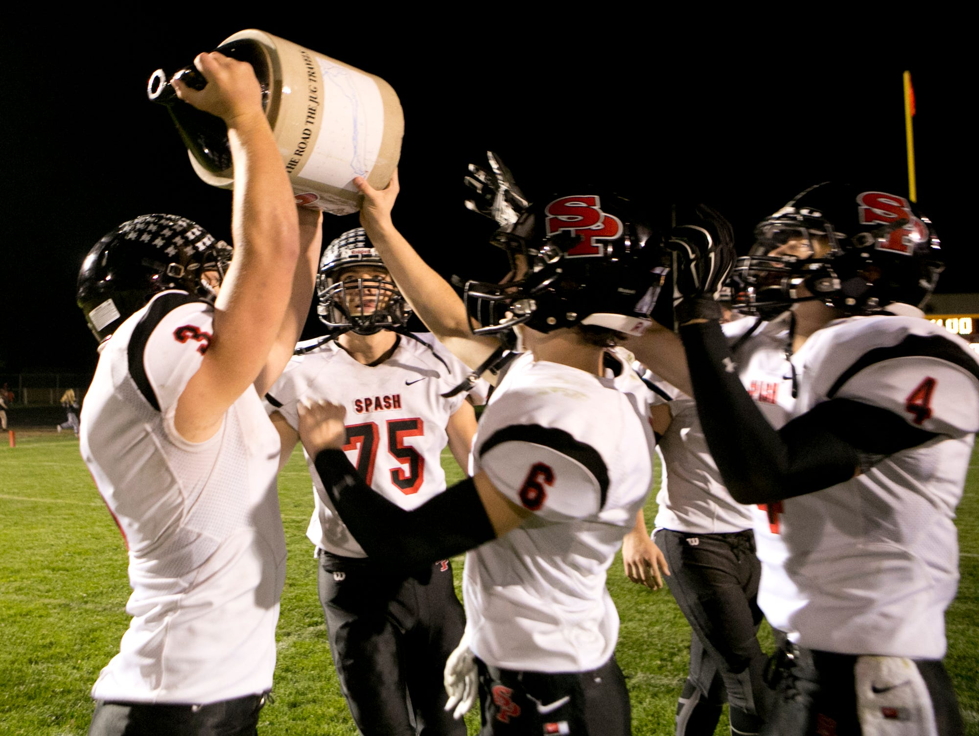 SPASH defeated Wisconsin Rapids 38-14 for the Old River Jug in a Wisconsin Valley Conference football game at South Wood County Recreation Center in Wisconsin Rapids, Friday, Sept. 25, 2015.