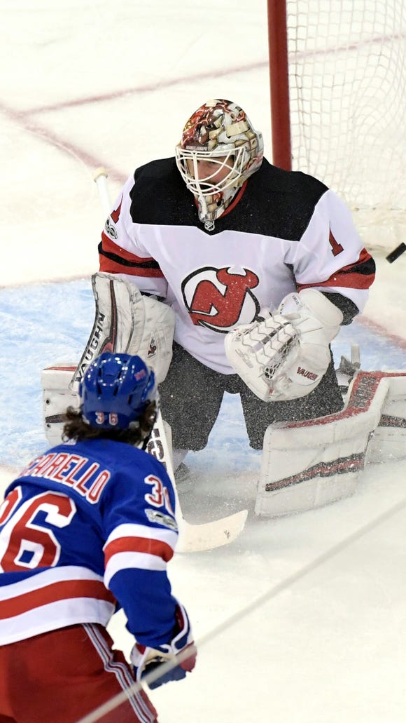 New York Rangers right wing Mats Zuccarello (36) scores a goal past New Jersey Devils goalie Keith Kinkaid (1) during the third period of an NHL hockey game Saturday, Dec. 9, 2017, at Madison Square Garden in New York. Zuccarello scored two goals as the Rangers defeated the Devils 5-2. (AP Photo/Bill Kostroun)