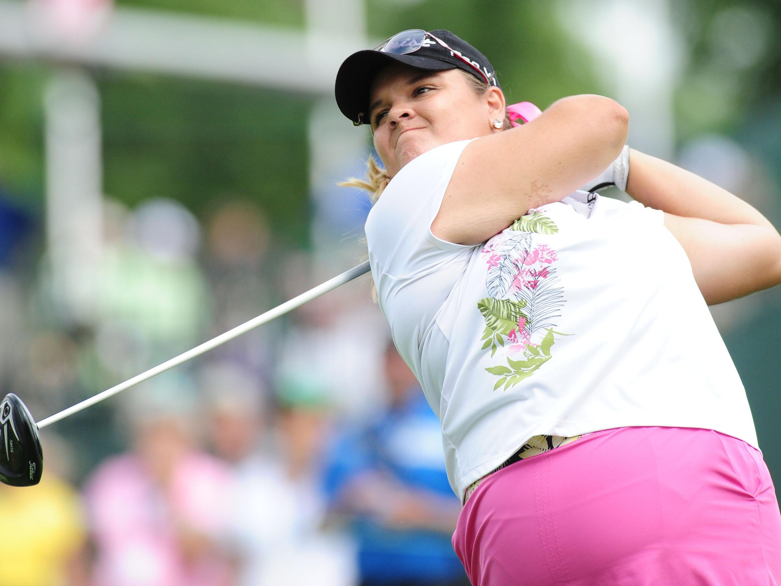 DeWitt's Liz Nagel tees off on the 14th hole during the first round of the U.S. Women's Open at Lancaster Country Club.
