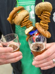Beers and snacks on a rope at the Brewers of Indiana Guild Winterfest.