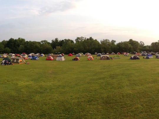 The field of tents from last year's campout at Heritage Park.