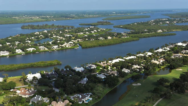 Views of the Indian River Lagoon and John's Island Creek at Indian River Shores looking northwest in Indian River County.