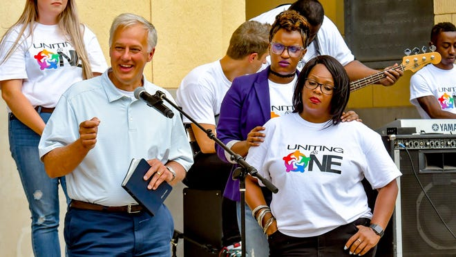 """Amarillo Central Church of Christ Minister Allan Stanglin speaks during the first iteration of the """"Uniting As One"""" service in June at the Potter County Courthouse. The second iteration will be at 6 p.m. Sunday at Hodgetown."""