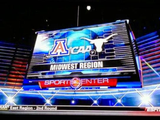 An ESPN graphic for the 2014 NCAA Tournament game between