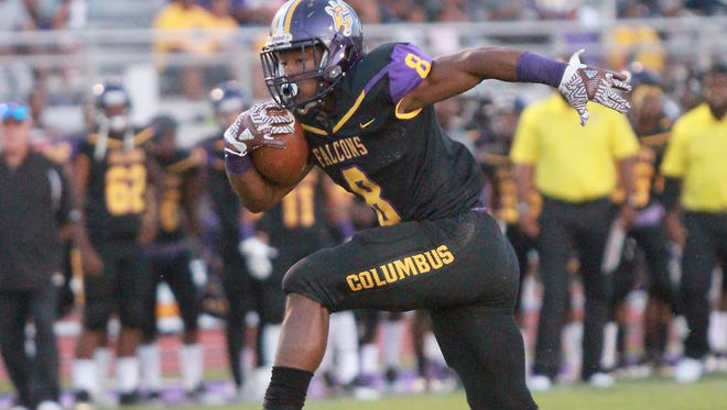 Columbus' Kylin Hill high-steps into the end zone during a game earlier this season.