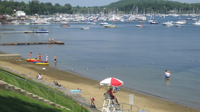 In the distance, boats are moored in Malletts Bay, as seen here in 2010 from Bayside Park in Colchester.