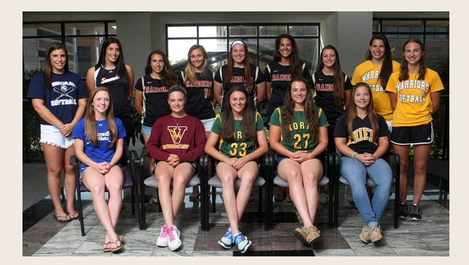 Courier News all-area softball players TOP ROW (L-R): Josie Novak of Immaculata; Amanda Carisone of Somerville; Donna Conrad, Taryn Grober, Alyssa VanDerveer, Katie Gademsky, Jessica Santelli of Hillsborough; Meghan Kovac, Kayla Schinik of Watchung Hills.  BOTTOM ROW: Chrissy Ferraro of Westfield; Haley Fedak of Voorhees; Carly Severini and Mason Spichiger of North Hunterdon; and Michelle Gebhardt of Piscataway, Monday, June 16, 2014, in Somerville, NJ. Photo by Jason Towlen
