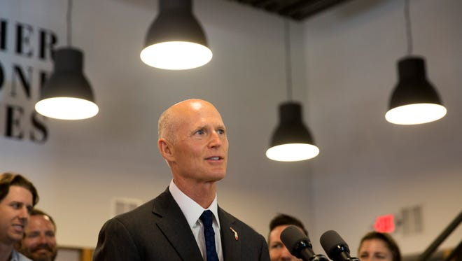 Florida Governor Rick Scott spoke about Hurricane Irma and job growth while visiting Pyure, an independent stevia sweetener company, Tuesday, September 5, 2017 in Naples.