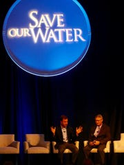Eric Eikenberg, left, CEO of the Everglades Foundation speaks during a Q&A with News-Press editor Steve McQuilkin at the Save Our Water Summit on Friday, May 12, 2018.