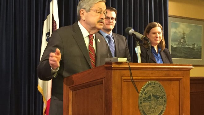 Gov. Terry Branstad talks with reporters on Monday, Jan. 30, 2017 in his office at the Iowa Capitol.