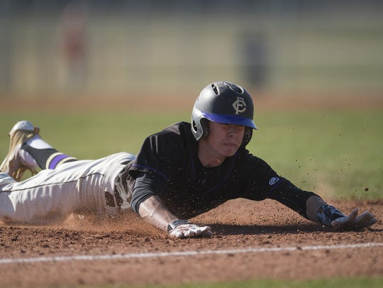 Colby Shade, shown in action last season, and his Fort Collins High School baseball teammates will play a home game at 3 p.m. Monday against Columbine.