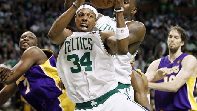 Boston's Paul Pierce pulls down a rebound during Game 4 of the 2010 NBA Finals against the Lakers.
