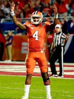 Clemson Tigers quarterback Deshaun Watson (4) reacts against the Oklahoma Sooners in the fourth quarter of the 2015 CFP Semifinal at the Orange Bowl at Sun Life Stadium. Clemson won 37-17.