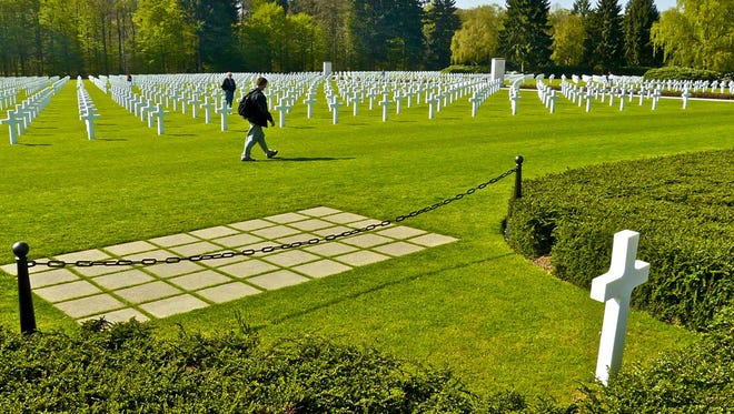 WWII cemetery in Luxembourg in April, 2014. The cross in the lower right marks the grave of General George S. Patton.